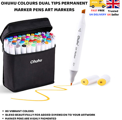 Ohuhu 80 Colours Dual Tips Art Sketch Twin Marker Pens Highlighters with Carryin