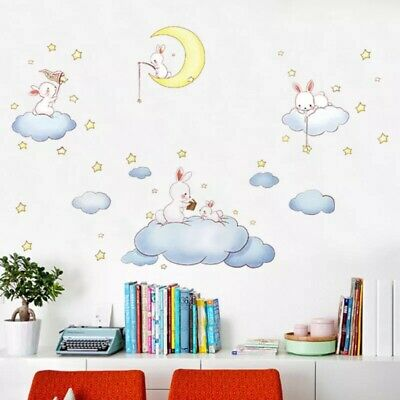 Bunnies Rabbits Moon Clouds Removable Wall Decal Sticker Mural Baby Room Nursery
