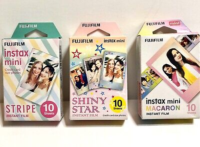 fujifilm instax mini 9 Film 3 Packs Shiny Star, Stripes, Macaron. 10 Sheets Each