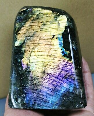 Natural Purple Labradorite Crystal Rough Polished Standup rock From Madagascar