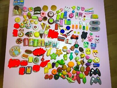 Cute Japanese Shaped Eraser Lot Daiso 43pc - Animals, Food and Drink