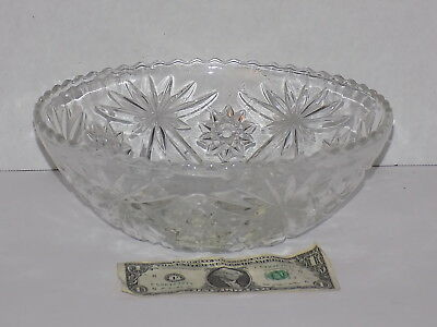 "Vintage Anchor Hocking Star of David Large 10 1/2"" Clear Glass Salad Bowl"