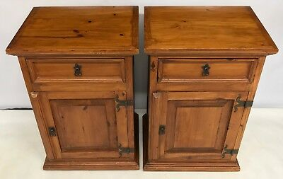 # PAIR Antique Style Rustic Pine Bedside Cabinets / Pot Cupboards / Lamp Stands