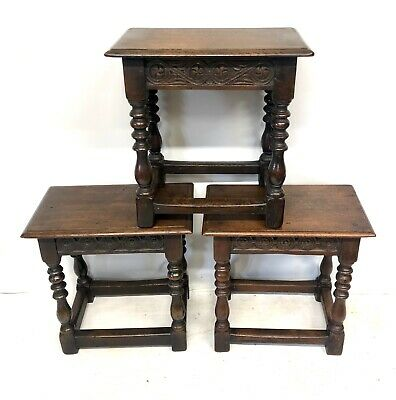 # Set 3 Antique Victorian Carved Oak Joint Stools Occasional Tables Lamp Stands