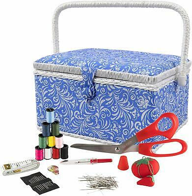 Singer 07228 Sewing Basket With Sewing Kit, Needles, Thread, Pins, Scissors, And