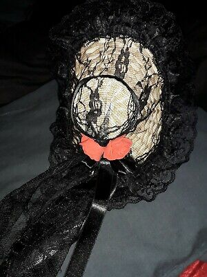 OOAK Hand Made Facinator Straw Hat Black Lace Red Roses Steampunk Victorian