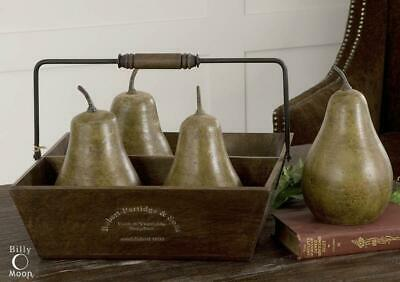 Distressed Green 5 Piece Pears In Basket Set