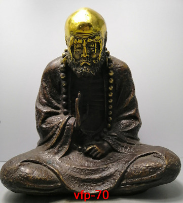 Old China antique Collection brass Gold plating Damo Founder Buddha statue statu