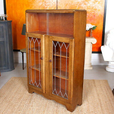 Antique Oak Bookcase Leaded Glass Cupboard Glazed Cabinet Country Arts & Crafts