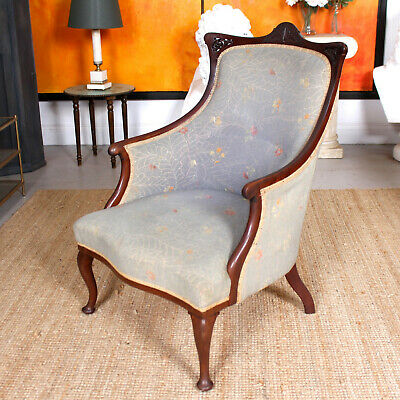 Antique Victorian Armchair Upholstered Tub Chair Salon Chair