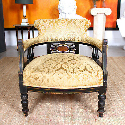 Antique Tub Chair Ebonised Inlaid Victorian Armchair Upholstered Salon Chair