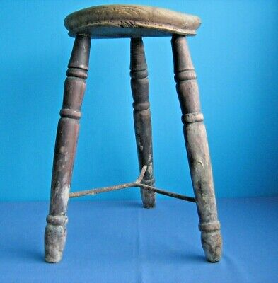 Vintage Three Legged Wooden Stool