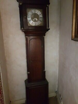 Antique 8 Day Longcase Oak Grandfather Clock C.1760 Maker Is Brewer Of Cheadle