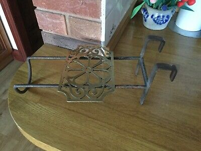 Antique Victorian Brass & Iron Trivet For Cooking Range - Handle Missing.