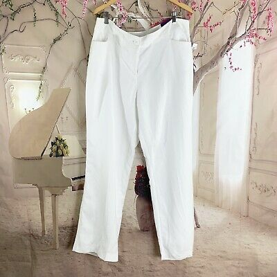 New Lane Bryant White Pants Classic Trousers Front Zip Linen Rayon SZ 18