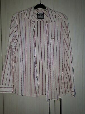 MENS MANTARAY LONG SLEEVED COTTON SHIRT/WHITE WITH PINK PRINT Size Large