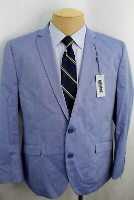 New Kenneth Cole Slim Blue Chambray Dual Vent100% Cotton Sport Coat Blazer FE0
