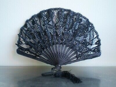 Fan Antique Decoration Wood Lace and Embroidery Black Deco Fashion Roaring Widow