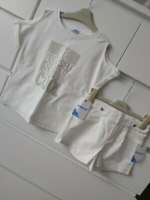 Mayoral Girls Cream Shorts And Cold Shoulder Top Set Outfit Age 8 BNWT
