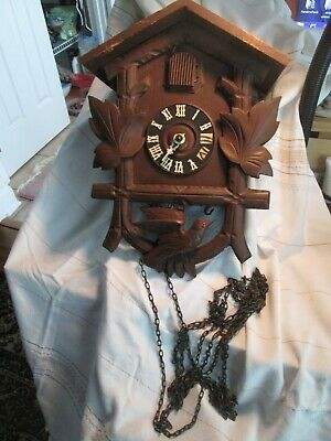 Vintage German Cuckoo Clock Beautifully Carved Wood For Parts or Repair 1950's