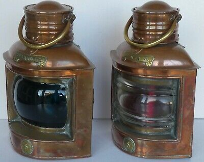 Seahorse Port & Starboard Ships Copper Oil Lamps