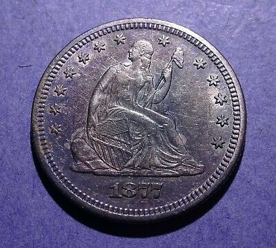 1877 Seated Liberty Quarter Ch. XF