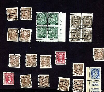 Canada LOT MINT HINGED Sc#166 BLK 4 & Sc#195 BLK 4 PLATE # BOTH PRE CANCEL inc++
