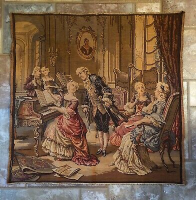 "Lovely ANTIQUE VINTAGE TAPESTRY Victorian Parlor Couples Musical Scene 39"" x 39"""