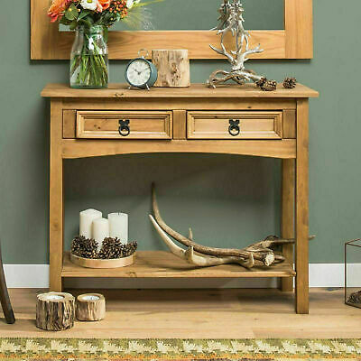 Antique Console Table 2 Drawers Hallway Rustic Wooden Sideboard Solid Wood Unit