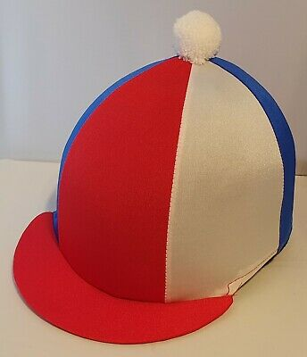 Riding Hat Cover - Red, Royal Blue & White With White Pompom