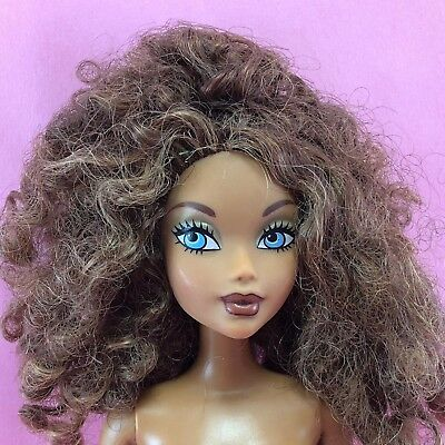 Barbie MY SCENE MADISON Nude Brunette Curly Natural Afro Hair AA Ethnic Dol MS34