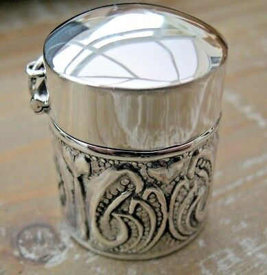 Pretty Arts & Crafts Style English Hallmarked Solid Sterling Silver Thimble Case