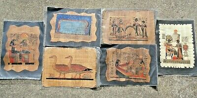 "Collection Set of 6 Ancient Egyptian Papyrus Museum Art Paintings 14""X10"" Inches"