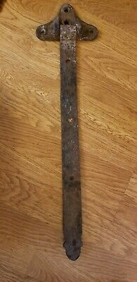 Early Antique Hand Forged Iron Barn Door Strap Hinges Gate