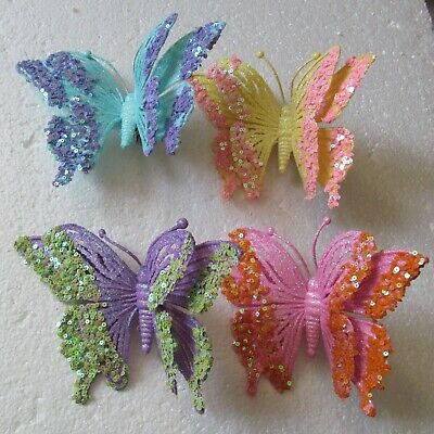 Large Mesh Glittered Clip On Hanging Butterfly Decoration 26cm 10 Colours