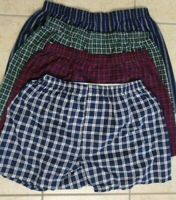 4 Pair Fruit of the Loom Plaid Boxers Cotton/Poly NEW Various Colors Medium