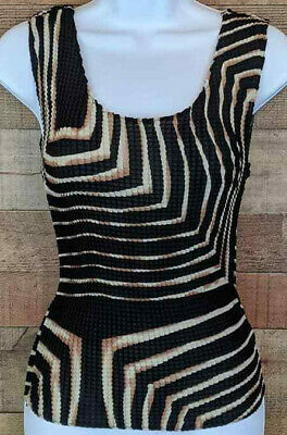 Nicola Sleeveless Top Art Deco Gold Stretchy Hourglass Slim Blouse Size S