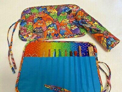 Handmade Colorful Burch Cats Quilted crochet hook holder cotton fabric