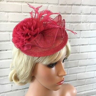Fuschia Pink Fascinator Sinamay Flower Fluted Curls Feathers Beak Clip Fitting