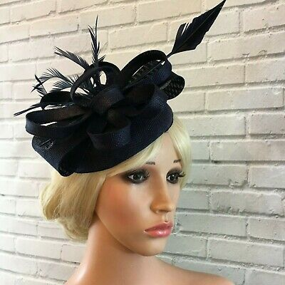 Ladies Navy Fascinator  Sinamay Linen Looped Feathers Weddings Ascot Races New
