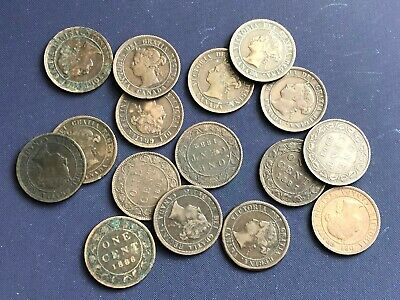 Old Canada Large Cents Lot *16 Coins 1881-H - 1901