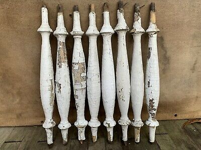 Lot 8 Architectural Salvage Wooden Spindle Balusters Chippy White