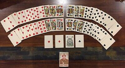 Full Deck Early Antique Playing Cards No Indices 1880 Old West Post Civil War