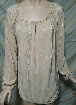 Faded Glory Women's Blouse size M(8-10),  gold, beige,gold,sleeve long PRE-OWNED