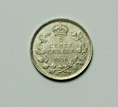 1916 CANADA George V Tiny Silver Coin - 5 Cents - lightly cleaned - deep gouges