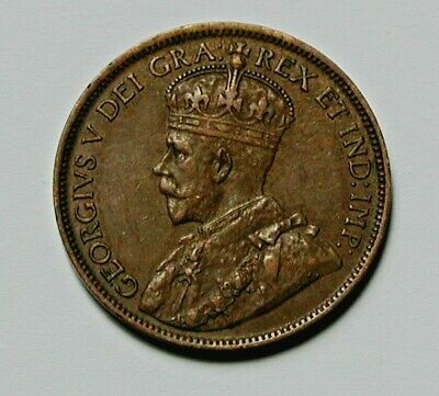 1918 CANADA George V Coin - Large Cent (1¢) - circulated - brown
