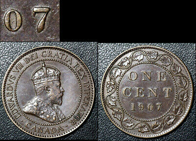 FEBRUARY SALE: Large Cent - 1907 Repunched 7/7 - AU (bg129)