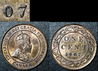 FEBRUARY SALE: Large Cent - 1907 Repunched 7/7 - AU (bg131)