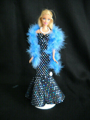 Barbie Doll Sheath Dress Strapless Handmade Black Faux Sequins Boa and Necklace