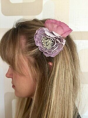 Lilac Peony And Pink Poppy Hair Clip.